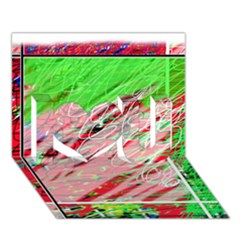 Colorful pattern I Love You 3D Greeting Card (7x5)