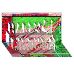 Colorful pattern Happy Birthday 3D Greeting Card (8x4)