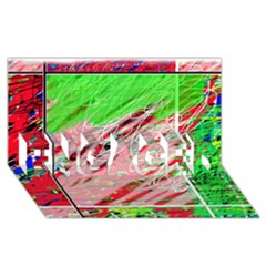 Colorful pattern ENGAGED 3D Greeting Card (8x4)