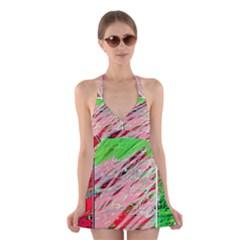 Colorful pattern Halter Swimsuit Dress