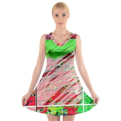 Colorful Pattern V Neck Sleeveless Skater Dress