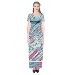 Colorful pattern Short Sleeve Maxi Dress