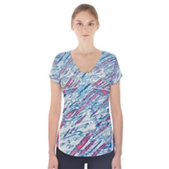 Colorful pattern Short Sleeve Front Detail Top