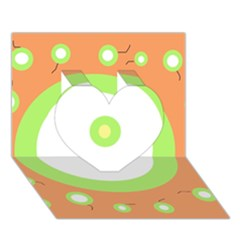 Green and orange design Heart 3D Greeting Card (7x5)