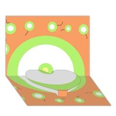 Green and orange design Heart Bottom 3D Greeting Card (7x5)