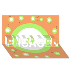 Green and orange design ENGAGED 3D Greeting Card (8x4)