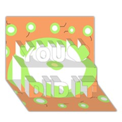 Green and orange design You Did It 3D Greeting Card (7x5)