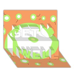 Green and orange design Get Well 3D Greeting Card (7x5)