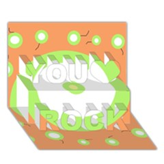 Green and orange design You Rock 3D Greeting Card (7x5)