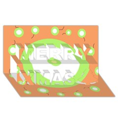 Green and orange design Merry Xmas 3D Greeting Card (8x4)