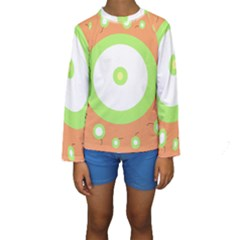 Green And Orange Design Kid s Long Sleeve Swimwear