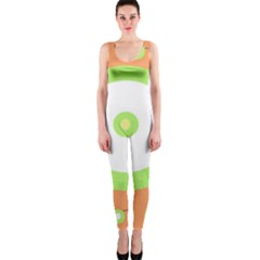 Green and orange design OnePiece Catsuit
