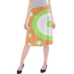 Green And Orange Design Midi Beach Skirt