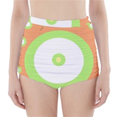 Green and orange design High-Waisted Bikini Bottoms