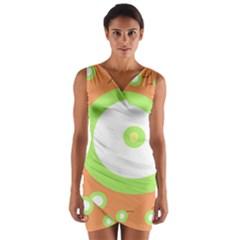 Green and orange design Wrap Front Bodycon Dress