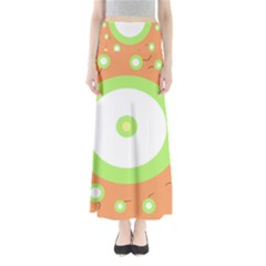 Green And Orange Design Maxi Skirts