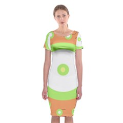 Green and orange design Classic Short Sleeve Midi Dress