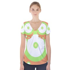Green and orange design Short Sleeve Front Detail Top
