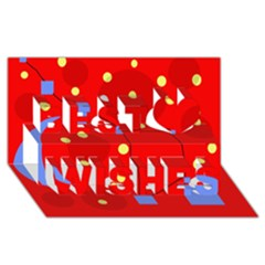 Red sky Best Wish 3D Greeting Card (8x4)