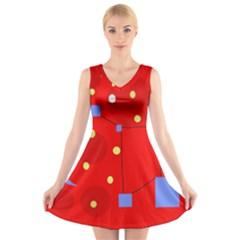 Red sky V-Neck Sleeveless Skater Dress
