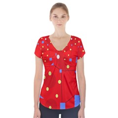 Red sky Short Sleeve Front Detail Top