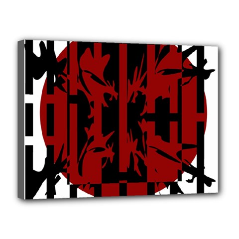 Red, black and white decorative abstraction Canvas 16  x 12