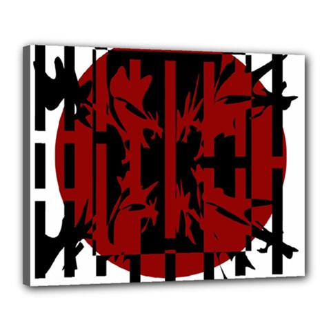 Red, black and white decorative abstraction Canvas 20  x 16
