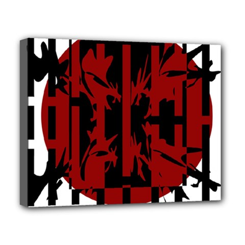 Red, black and white decorative abstraction Deluxe Canvas 20  x 16