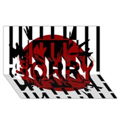 Red, Black And White Decorative Abstraction Sorry 3d Greeting Card (8x4)