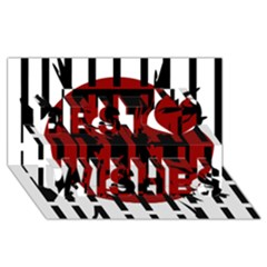 Red, black and white decorative abstraction Best Wish 3D Greeting Card (8x4)