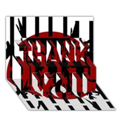 Red, black and white decorative abstraction THANK YOU 3D Greeting Card (7x5)