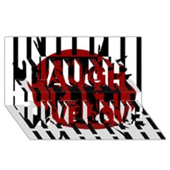 Red, black and white decorative abstraction Laugh Live Love 3D Greeting Card (8x4)