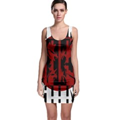 Red, black and white decorative abstraction Sleeveless Bodycon Dress