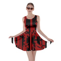 Red, black and white decorative abstraction Skater Dress