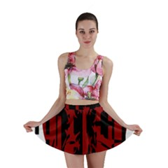 Red, black and white decorative abstraction Mini Skirt