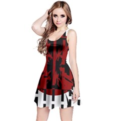 Red, black and white decorative abstraction Reversible Sleeveless Dress