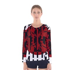 Red, black and white decorative abstraction Women s Long Sleeve Tee