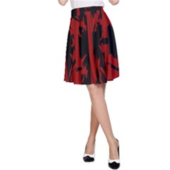 Red, black and white decorative abstraction A-Line Skirt