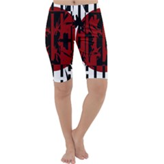 Red, black and white decorative abstraction Cropped Leggings