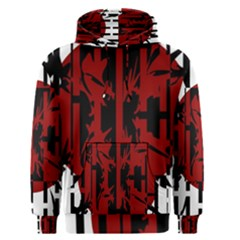 Red, black and white decorative abstraction Men s Pullover Hoodie
