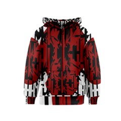 Red, black and white decorative abstraction Kids  Zipper Hoodie