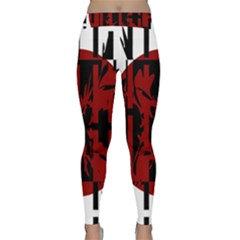 Red, black and white decorative abstraction Yoga Leggings