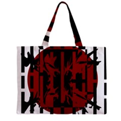 Red, black and white decorative abstraction Zipper Mini Tote Bag
