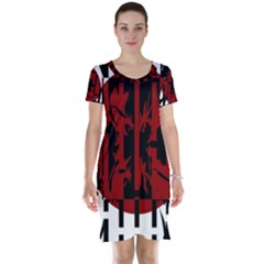 Red, black and white decorative abstraction Short Sleeve Nightdress