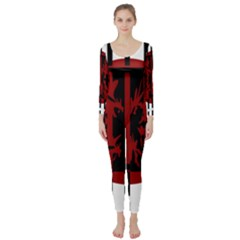 Red, black and white decorative abstraction Long Sleeve Catsuit