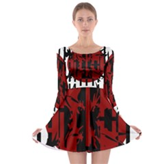 Red, black and white decorative abstraction Long Sleeve Skater Dress