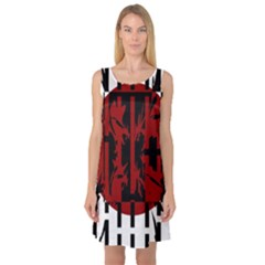Red, black and white decorative abstraction Sleeveless Satin Nightdress