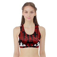 Red, black and white decorative abstraction Sports Bra with Border