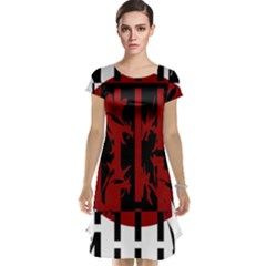 Red, black and white decorative abstraction Cap Sleeve Nightdress