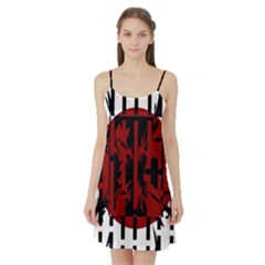 Red, black and white decorative abstraction Satin Night Slip